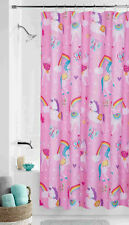 Rainbow Unicorn Fabric Shower Curtain 70x72 Pink Girls Kids Child Butterfly