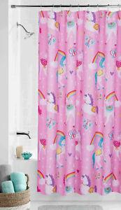 Rainbow Unicorn Fabric Shower Curtain 70x72 Pink Girls Kids Child Butterfly