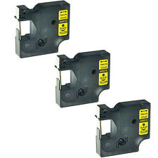 """3PK 45018 Black on Yellow Label Tape Cassette For Dymo D1 Labelmanager 260P 1/2"""""""