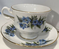 Vintage Queen Anne Bone China Cup & Saucer England Blue White Floral Footed Gold