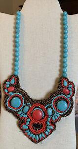 Vintage Beautiful Necklace Intricate Beaded Design On Felt Backing