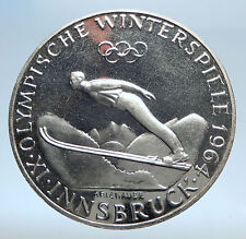 1964 AUSTRIA Innsbruck Winter Olympic Games SKIING Silver Proof 50 S Coin i74083