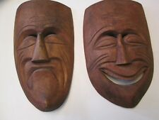 Comedy and Tragedy Hand Carved Wood Plaques 13""