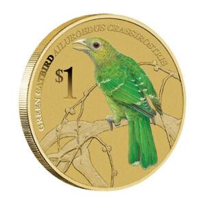 2013 Birds Green Catbird Songbird Tuvalu $1 Dollar Coloured UNC Coin Carded