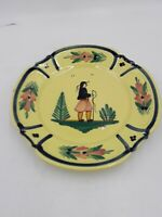HB Quimper France 222 RC Yellow Soleil Luncheon Plate Male Breton Scalloped Rim