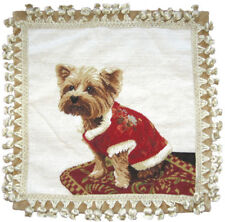 "16"" x 16"" Handmade Wool Needlepoint Pillow with Yorkie Dog in Red Dress"