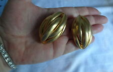 Vintage Cluster Gold Tone  Chunky Bold Huge Big Clip On Earrings