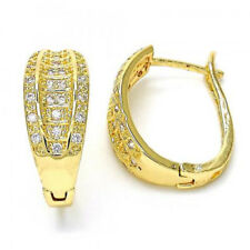 BEAUTIFUL HOOP EARRINGS  WITH CZ STONES 18K GOLD OVER STERLING SILVER !!!