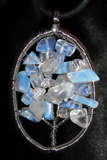 Opalite chip stone pendant leather necklace healing jewelry tree of life connect