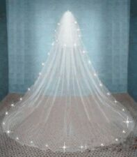 2 Tier White/ivory Wedding Veil Crystal Cathedral long Bridal Wedding with comb