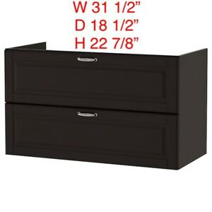 "IKEA GODMORGON SINK CABINET WITH 2 DRAWERS KASJON DARK GRAY 31 1/2"" W"