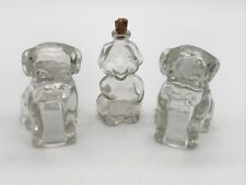 """New listing Lot of 3 Vintage Glass Dog Figurines * Bottle * 3"""" Tall * Candy Container A673x"""