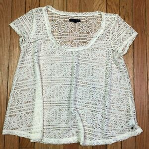 American eagle short sleeve a line oversized lace top white size small