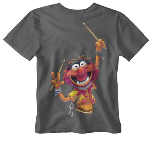 Animal T-shirt Muppet White 80s 90s Retro Tee drummer funny wild kermit piggy uk