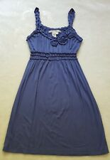 MAX STUDIO Steel Blue Rosette Corsage Sun Dress XS Extra S Vacation Beach Summer