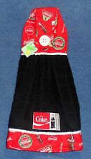 **NEW** Handmade Coca-Cola Coke Black Hanging Kitchen Fridge Hand Towel #1156