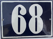 VINTAGE FRENCH/PORTUGUESE BLUE ENAMEL PORCELAIN DOOR HOUSE NUMBER SIGN PLATE 68