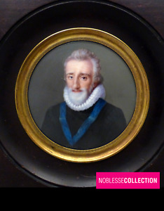 RARE ANTIQUE 19th C FRENCH MINIATURE HAND PAINTED HENRI IV PORTRAIT FROM POURBUS