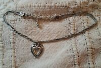 "Brighton Silver Triple Stranded ♡Ellington Heart♡ Necklace 16"" to 18"""