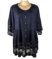 Denim 24/7 Womens Boho Tunic Size 22W  Navy Blue 3/4 Sleeve Lace Buttons Blouse