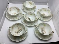 Haviland Limoges Bouillon cup and saucer, set of 6