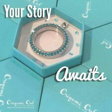 Origami Owl Large Twist Locket Face  BLUE ZIRCON Crystals RARE Limited Ed TEAL
