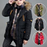 Winter Kids Boys Hooded Puffer Coat Warm Jacket Outerwear Overcoat Age 6-17Y