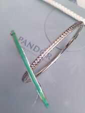 Authentic Pandora Mint Radiant Hearts  Bangle 16cm And 19cm 590537EN105
