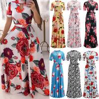 Women Summer Party Short Sleeve Long Dress Boho Floral Print Bandage Sun Dress