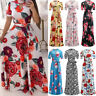 Women Summer Party Short Sleeve Long Dress Boho Floral Print Bandage Sun Dress