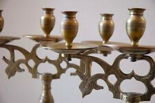 PAIR ANTIQUE CANDELABRA EARLY 19th C. MASSIVE CAST BRASS. POLAND RUSSIA ORIGIN