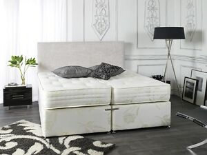 5FT KINGSIZE ZIP AND LINK DIVAN BED WITH 1500 POCKET SPRUNG MATTRESSES