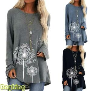 Womens Long Sleeve T-Shirt Casual Ladies Winter Tops Pullover Blouse Plus Size