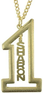 "Vintage Gold Tone Number #1 Name Plate Pendant 2 1/2"" + Necklace 22"" - Sharon"