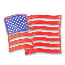 3 American Flags Cupcake Cake Topper Plaque, USA Party Decoration, Baking Supply