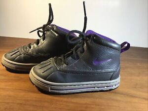 Nike Woodside ACG 2 High Kids Boots size 7.5 Anthracite/ Purple 415080-002