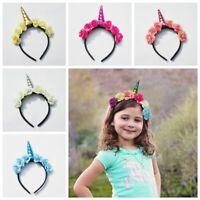 Chiffon Flower Decorative Baby Tiara Kids Headband Girls Hair Band Unicorn Horn