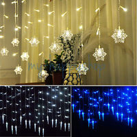 96LED Icicle Hanging Snowflake Curtain String Lights Fairy Christmas Decorative