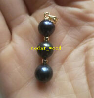 Black round AAA 9-8mm natural Tahitian pearl pendant necklace 14k Gold