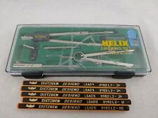 HELIX 6 Piece Drawing Art Drafting Set Kit In Case Made in Italy W/ Extra Lead