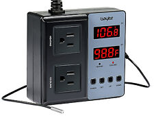 110V Pre-Wired Digital Temperature Controller Outlet Measure Thermostat 2 Relay
