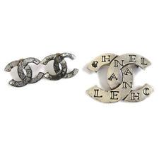 CHANEL CC Logos Charm Piercing Brooch 2 Set Silver Authentic AK43481