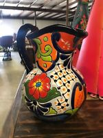 Mexican Colorful Talavera Pottery Pitcher Folk Art Kitchen Water Jug