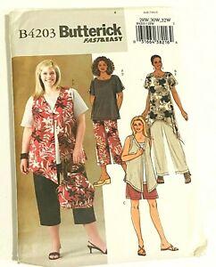 Butterick Sewing Pattern B4203 Fast & Easy  Tops Vest Pants   28-32  UNCUT