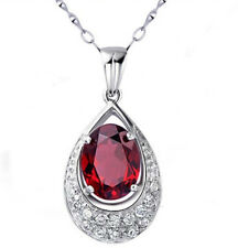 Sterling Silver Red Garnet Heart Crystal Pendant Necklace Chain Box Gift Box C16
