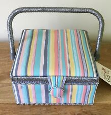 SEWING BASKET BOX SMALL 'Candy Stripe' Design SQUARE SUPER QUALITY