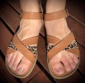 Rusty Tan & Leopard Leather Ankle Strap Sandal Women's size 9