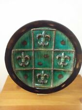 Large Fleur de lis Green and Brown Decorate Plate Bombay and Company