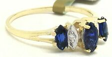 GENUINE 0.75 Cts BLUE SAPPHIRE & DIAMONDS RING 14k YELLOW GOLD *Free Appraisal *