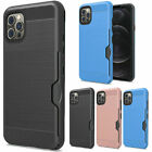 For iPhone 12, 12 Pro Brushed Metal Card Holder Tuff Armor Hybrid Case Cover